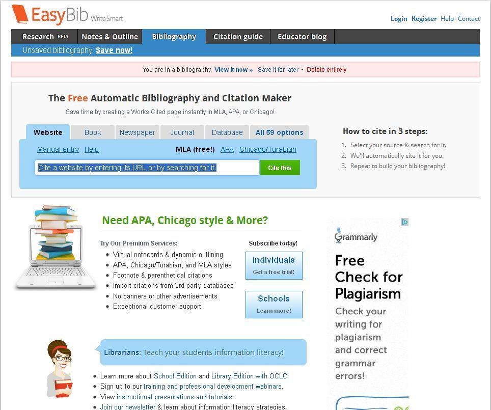 Easybib The Free Automatic Bibliography Composer Citation Maker Create Words Mla