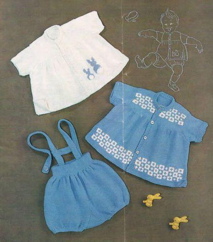 9b3df39e8 Details about Knitting Pattern- Baby- DK Smock   Romper set- vintage ...