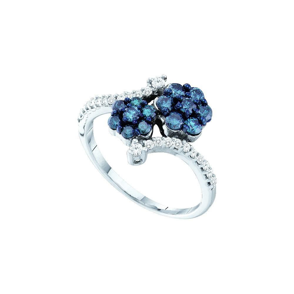 10kt White Gold Womens Round Blue Colored Diamond Double Flower Cluster Ring 3/4 Cttw