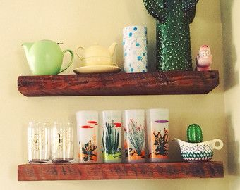 65cm Reclaimed Pallet Wood Floating Shelf Led Candle Holder