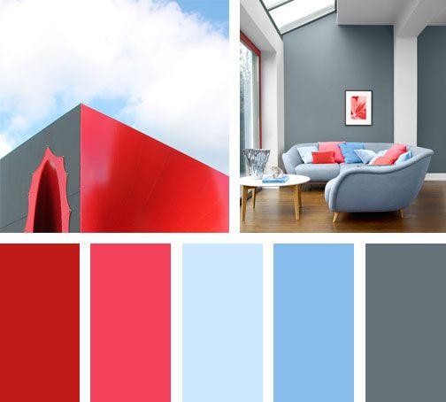 Una Paleta De Colores Compuesta Por Rojo Gris Y Azul Colores Que