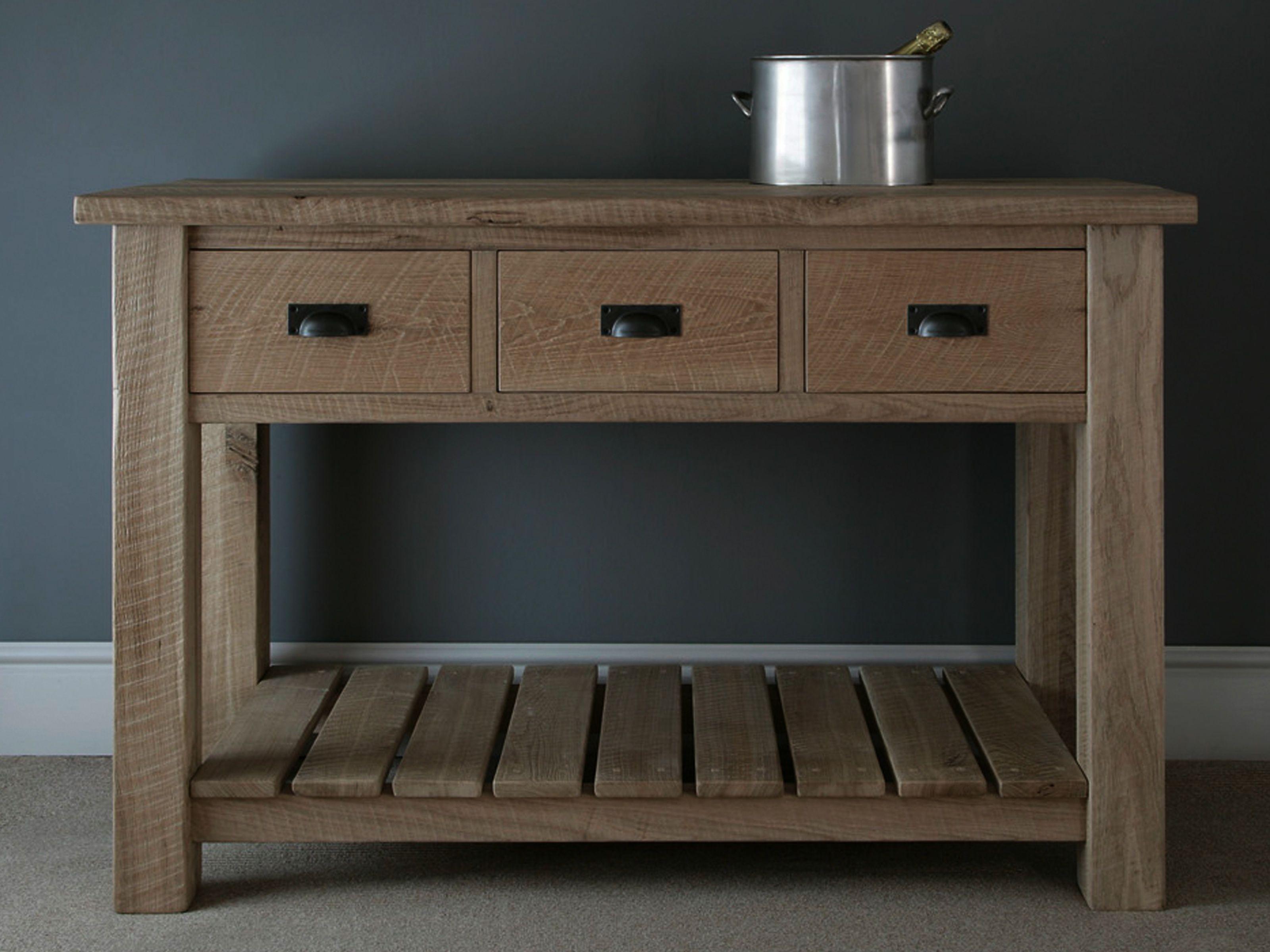 Riven Oak Console Solid Oak Furniture Console Table Decorating
