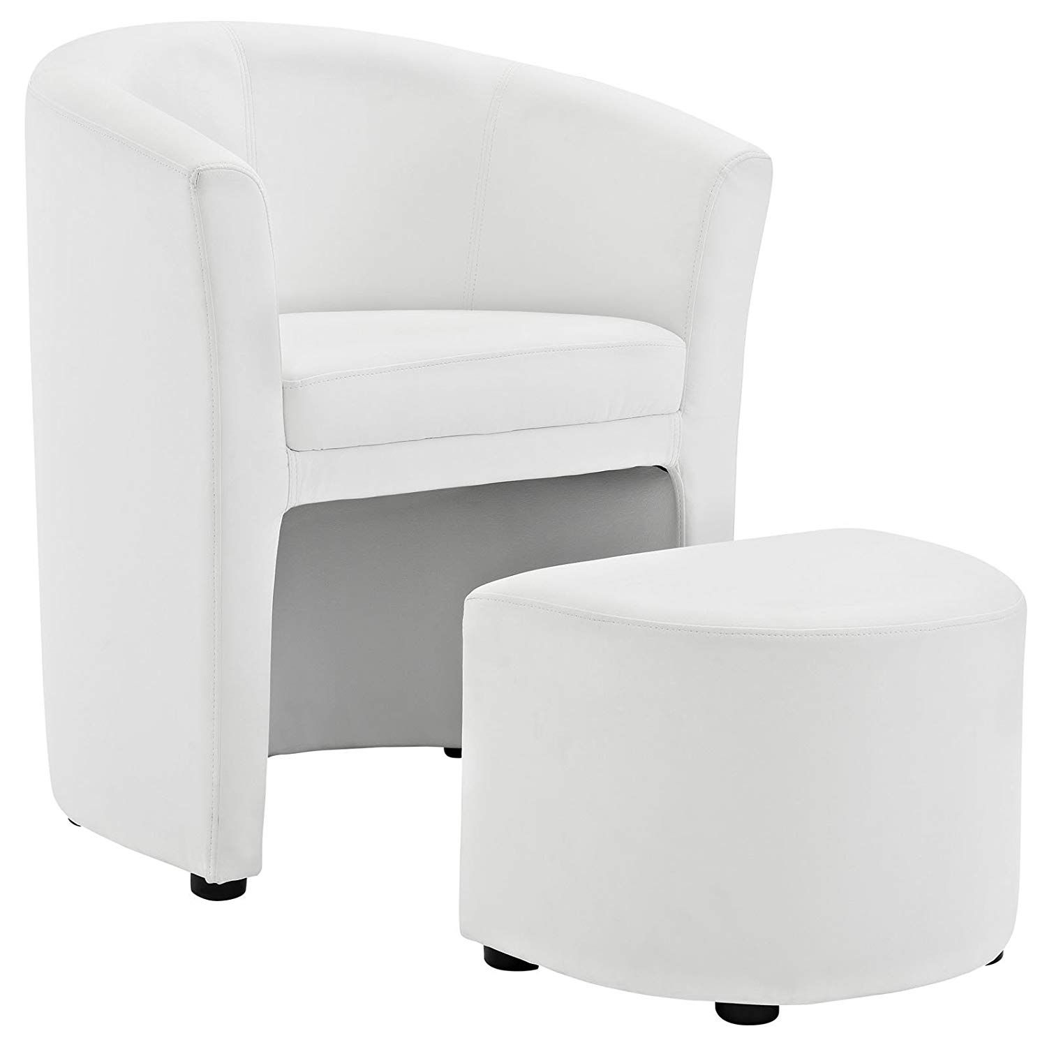 Armchair White With Images Chair And Ottoman Set