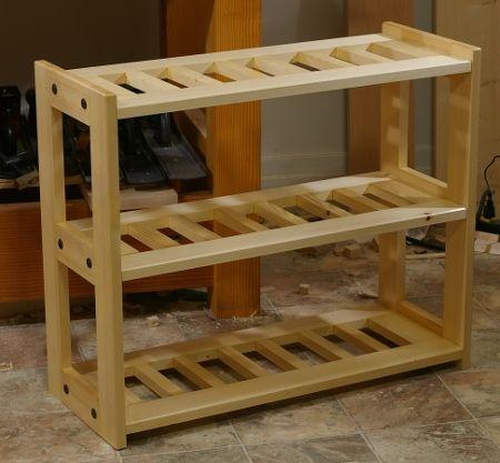 pin by alva crawford on home projects wooden shoe racks shoe rack plans diy shoe rack. Black Bedroom Furniture Sets. Home Design Ideas