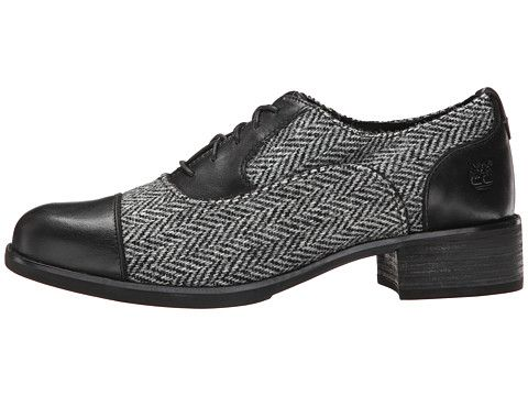Timberland Beckwith Fabric and Leather Lace Oxford Black Smooth/Grey Harris  Tweed® Wool -