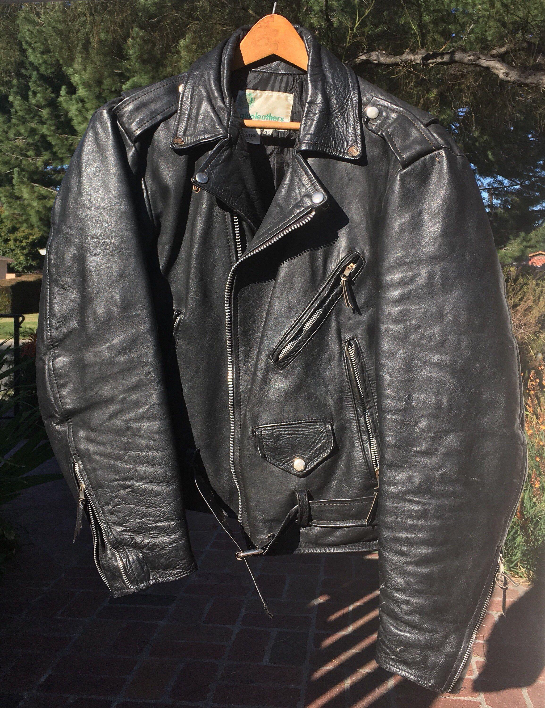 Vintage Black Leather Motorcycle/Biker Jacket Size 40 Made