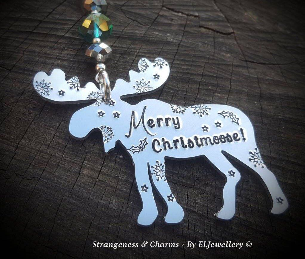 Hand Stamped 'Merry Christmoose' Moose Christmas | Etsy ...