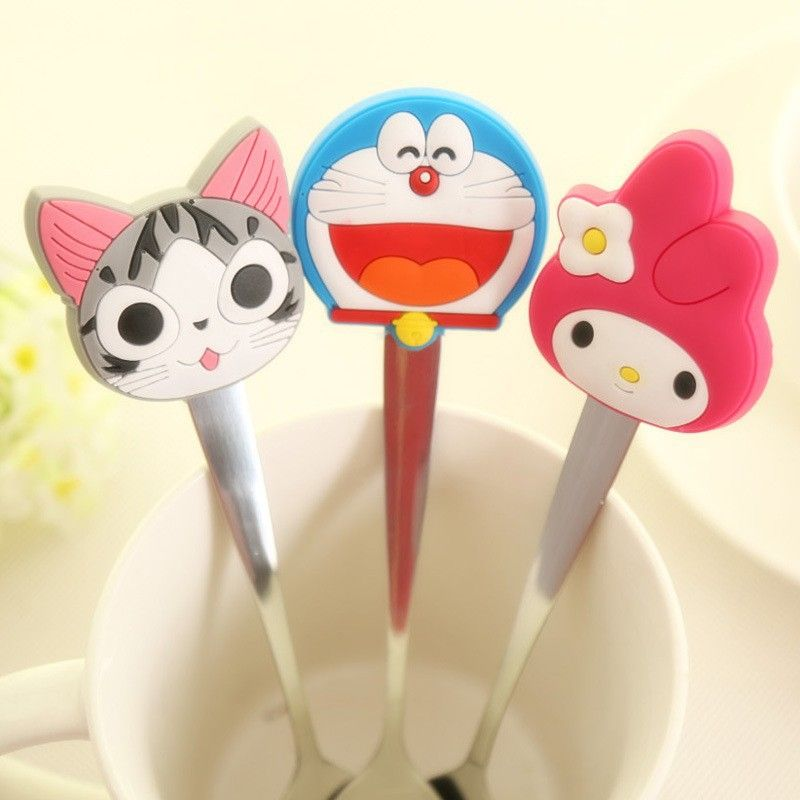 Cartoon Silicone Handle Stainless Steel Spoon party supplies baby shower souvenirs boy girl favors