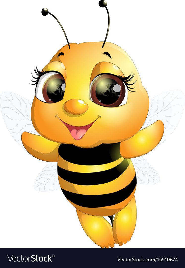 Beautiful Cute Bee Drawn On White Background Download A Free Preview Or High Quality Adobe Illustrator Ai Eps Pdf And High Cute Bee Bee Pictures Cartoon Bee