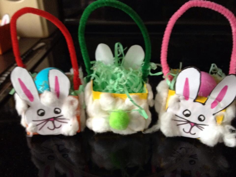 Fuzzy bunny basket. Made from school lunch milk carton, cotton balls, & pipe cleaner. Easy for preschoolers to make. Perfect for holding 1 egg!