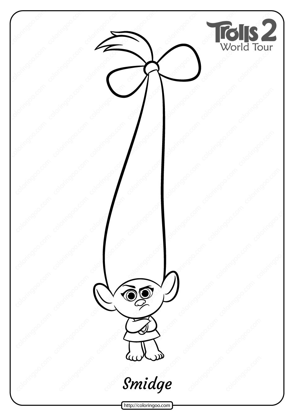 Free Printable Trolls 2 Smidge Pdf Coloring Page Coloring Pages Free Printable Coloring Pages Free Printable Coloring