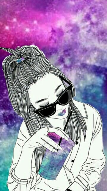 Chica Con Detalles De Galaxia By Brisa Larralde Yo Espero Que Les Gustee Papel Tapiz De Nina Dibujos Tumbrl Imagenes De Dibujos Tumblr