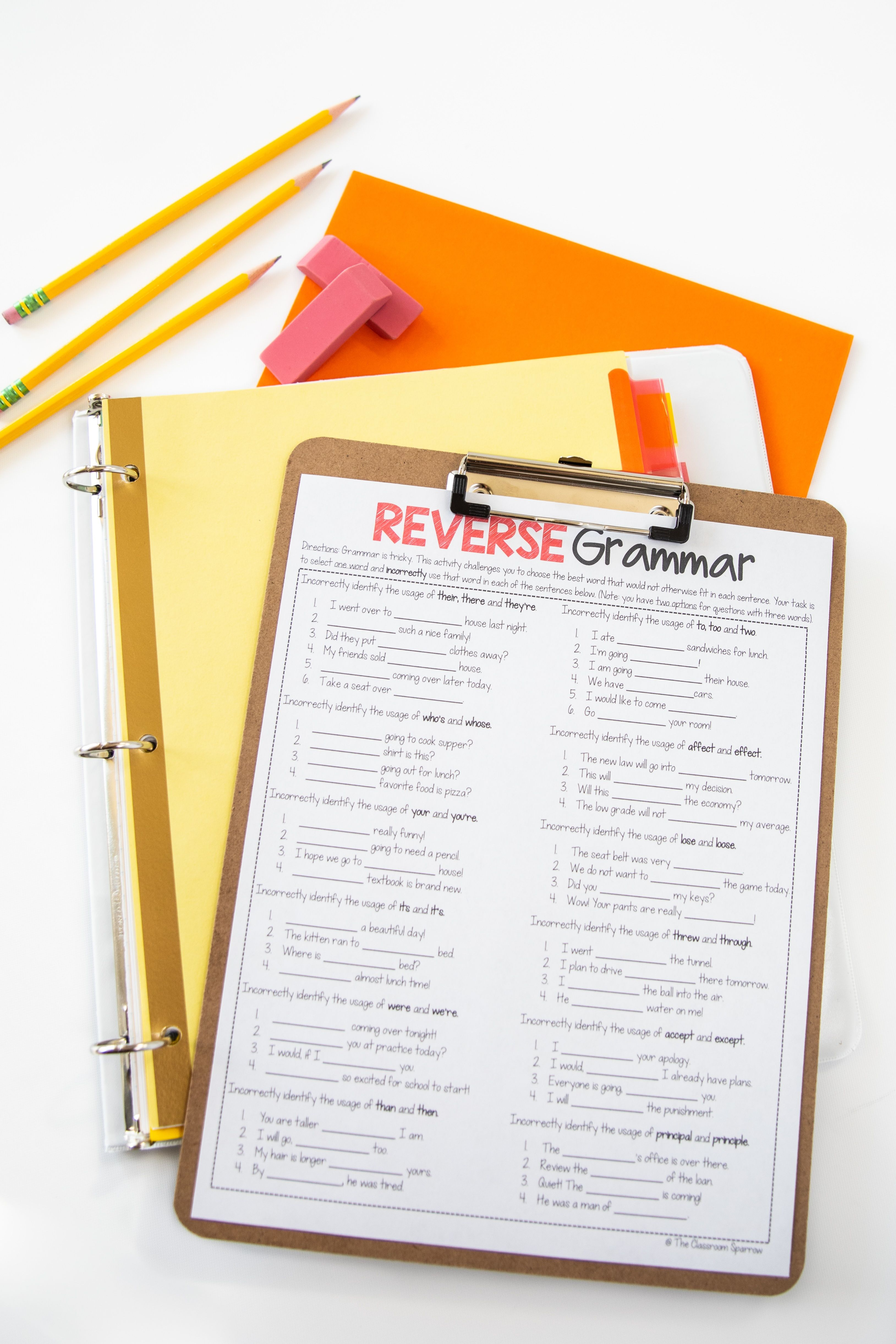 Free Reverse Grammar Worksheet