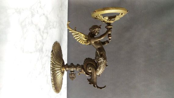 Bronze Mermaid Wall Sconce Winged Mermaid By Vintagebrassrevival Antique Bronze Sconces Victorian Wall Sconces Mermaid Candles