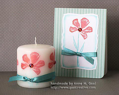Stamped Candle & Card Set by Anne Gaal of Gaal Creative at http://www.gaalcreative.com - Feel free to re-pin! ♥