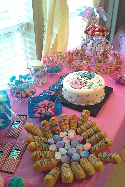 Desserts Table For Gender Reveal Party Gender Reveal Party Food