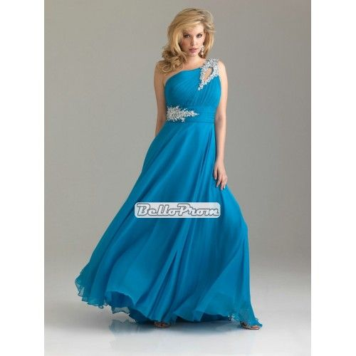 Romantic One shoulder beaded applique empire chiffon plus size prom dress PD34571 at belloprom.com