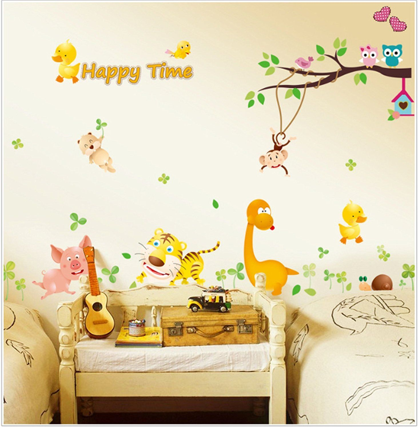 Judek Large 24x36 Inches Nursery Cartoon Forest Wall Art Stickers ...