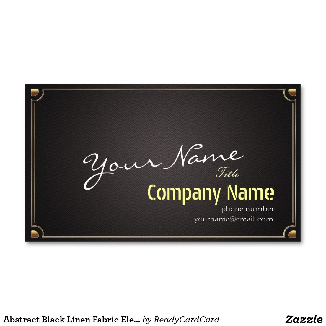 Abstract Black Linen Fabric Elegant Gold Frame Business Card ...