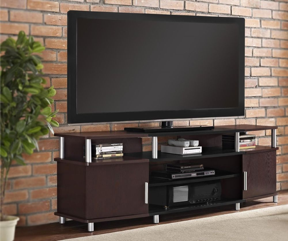 "TV Stand Console Cabinet Sizeable Media Entertainment Center Shelves Storage 70"" #AF #Contemporary"
