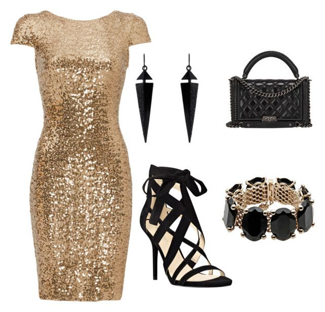 """Gold and Black Glamour"" by bridgeb543 on Polyvore featuring Badgley Mischka, Nine West, Chanel, Oasis and Valentino"