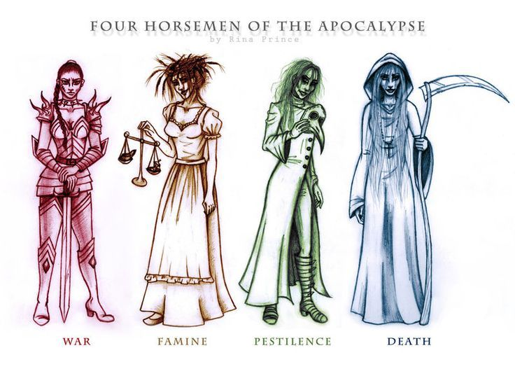 Image result for the four horsemen names | Lachesism | Apocalypse