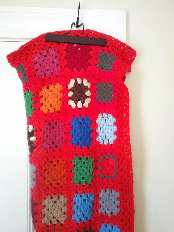 Vintage Red Granny Square Crocheted Blanket by JulesCristenVintage
