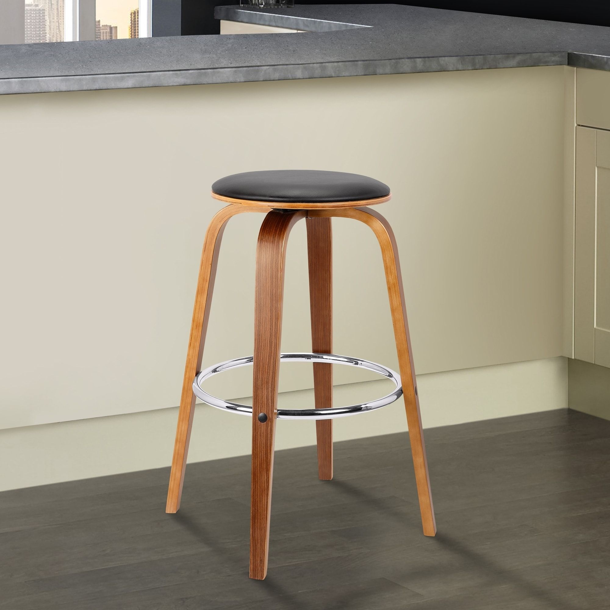 Brussel Mid Century Backless Swivel Wood Barstool In Walnut With