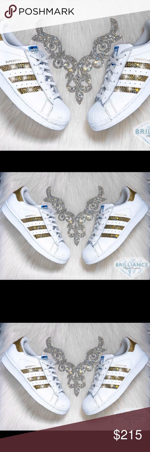 new style 01209 3eea4 Swarovski Adidas Superstars White   Gold Metallic Authentic Adidas  Superstar Shoes In White Gold Metallic (Order 1 2 size smaller than normal).