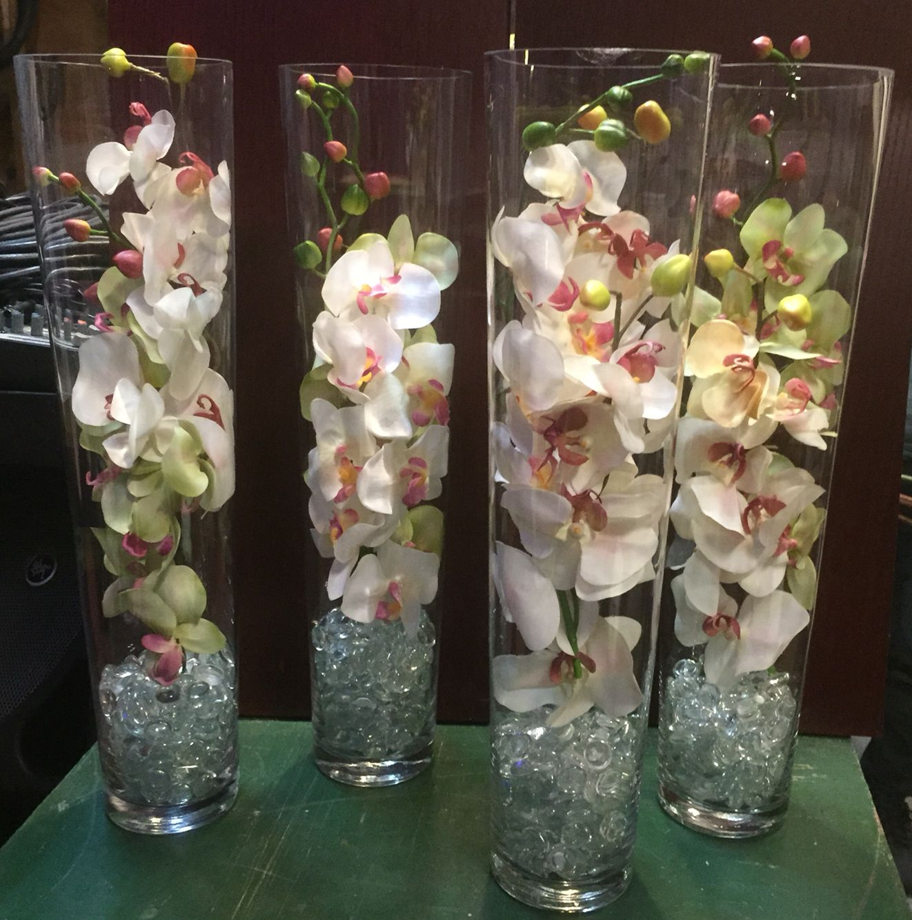 Fake orchids stems with clear stones in a tall vase fete fake orchids stems with clear stones in a tall vase reviewsmspy