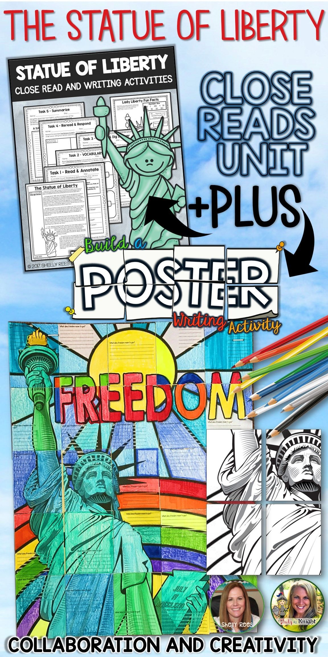 Statue Of Liberty Close Reads Unit Collaborative Poster