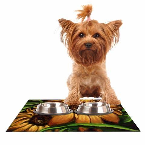 """Cyndi Steen """"Sunflower Days"""" Yellow Floral Dog Place Mat - KESS InHouse"""