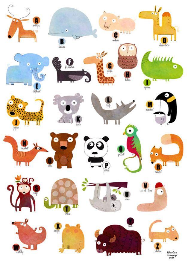 Affiche L Abecedaire Des Animaux A122 Animaux Alphabet Dessins Mignons Animaux