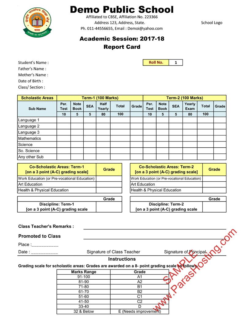 Cbse report card format for class vi to viii school