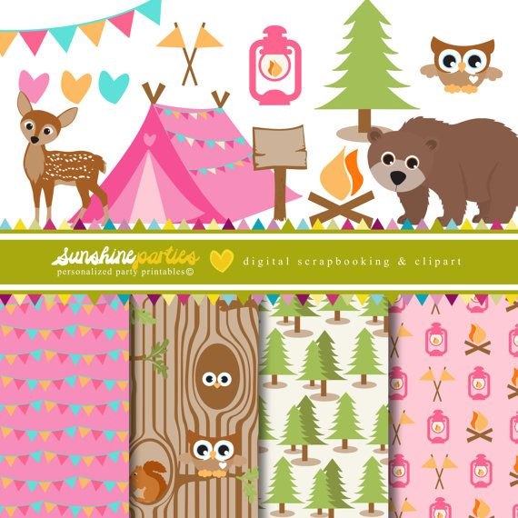 Girls Camping Party Clipart And Digital Paper Set Camp Out