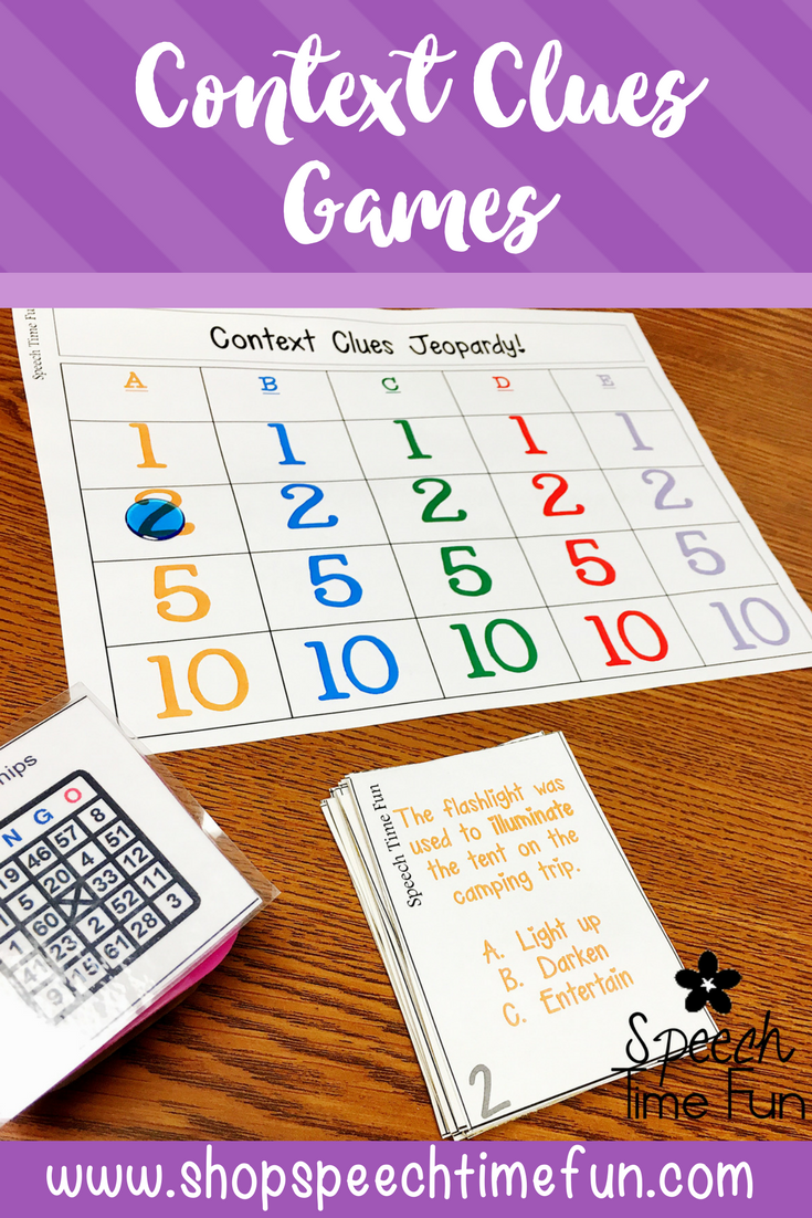 Context Clues Games Using tier 2 vocabulary words for speech and language therapy