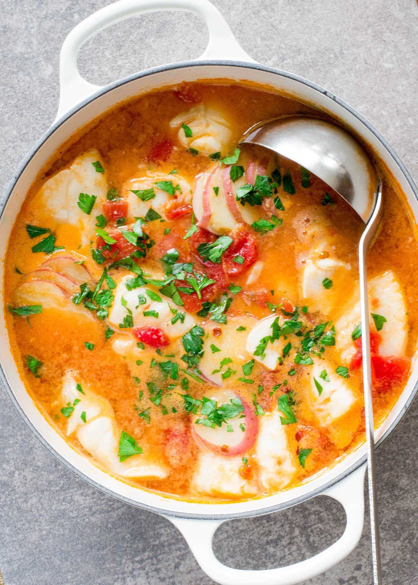 QUICK and EASY fish stew with ginger and tomatoes. Both warming and light. Ready in about 30 minutes. from @simplyrecipes