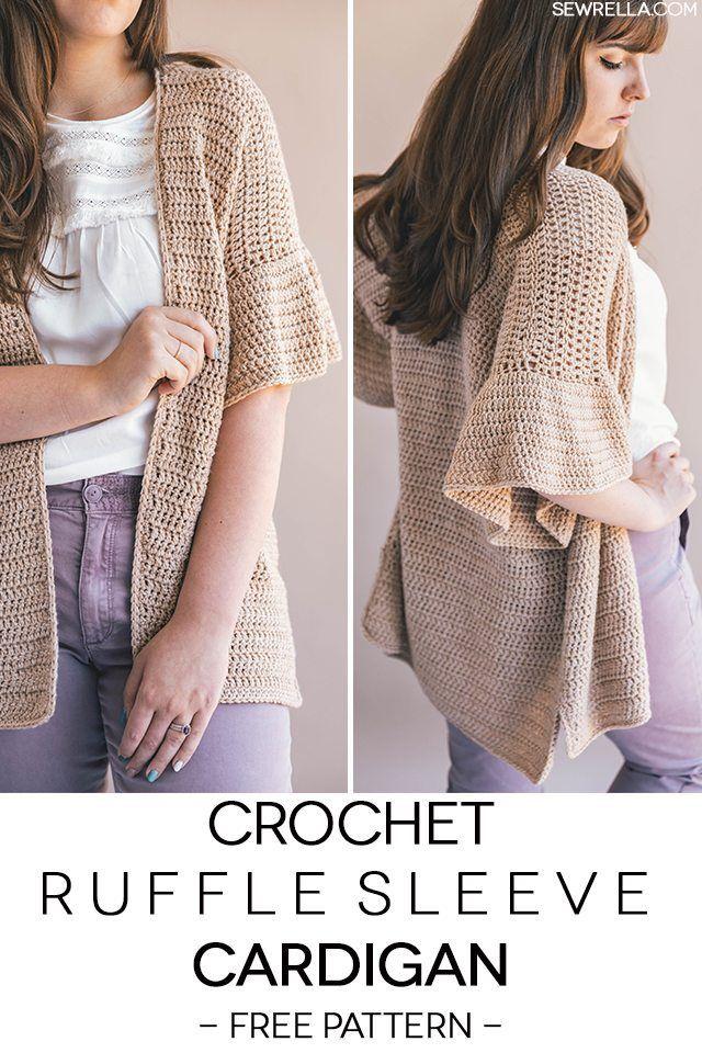 Crochet Ruffle Sleeve Cardigan Crafts Cozy Pinterest Ruffle