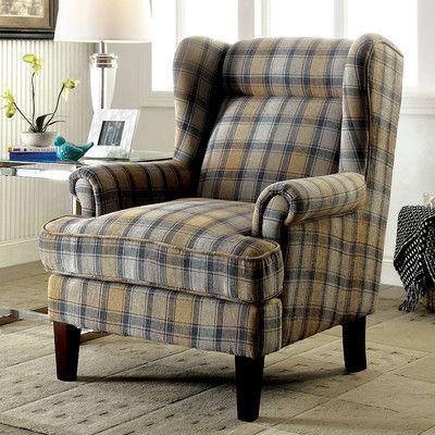 Best Avery Plaid Print Arm Chair Wayfair Traditional Accent 400 x 300