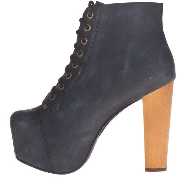 JEFFREY CAMPBELL Lita Suede Black Black Leather platform booties (695 BRL) ❤ liked on Polyvore