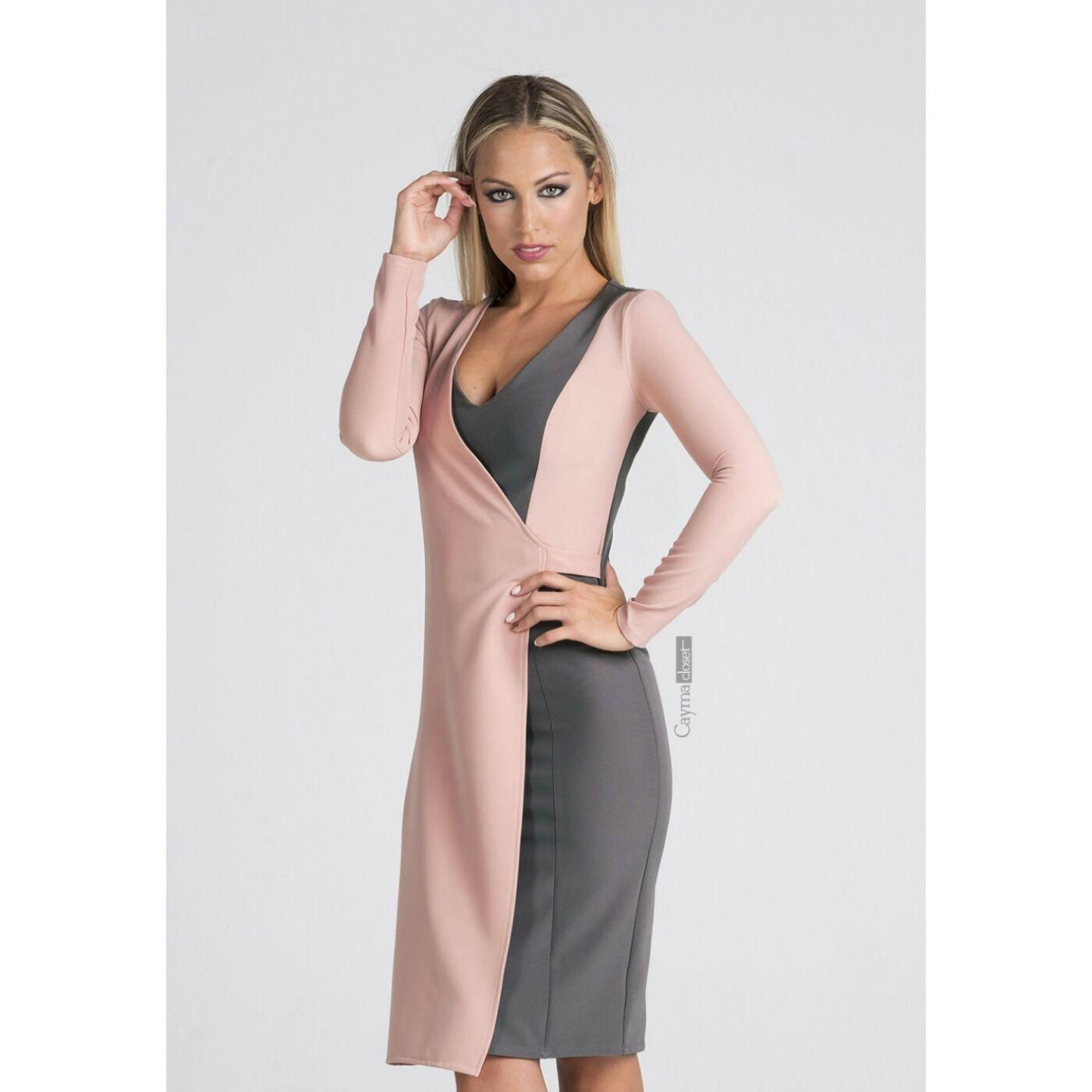 ada076924 Vestido bicolor ajustado asimétrico con diferentes combinaciones. Colores