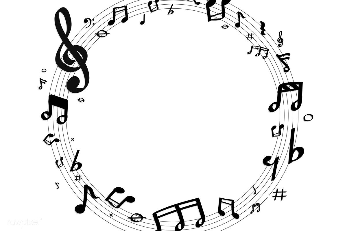 Black Music Notes Round Badge On White Background Vector Free Image By Rawpixel Com Gift Chayanit Vector Free Music Notes Black Music