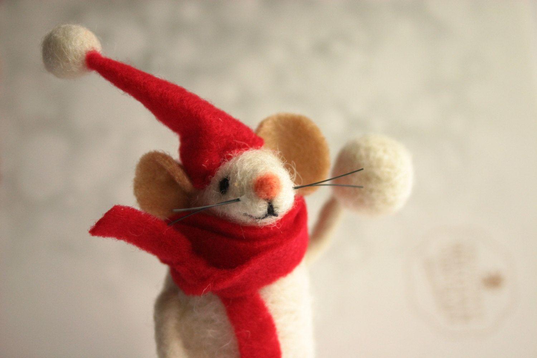 Felt Mouse Felted Mice Holiday Figurine Santa Claus Mouse Needle Felted Mouse Figurine Felted Wool Animal Christmas Mouse Felt Christmas Felt Christmas Ornaments