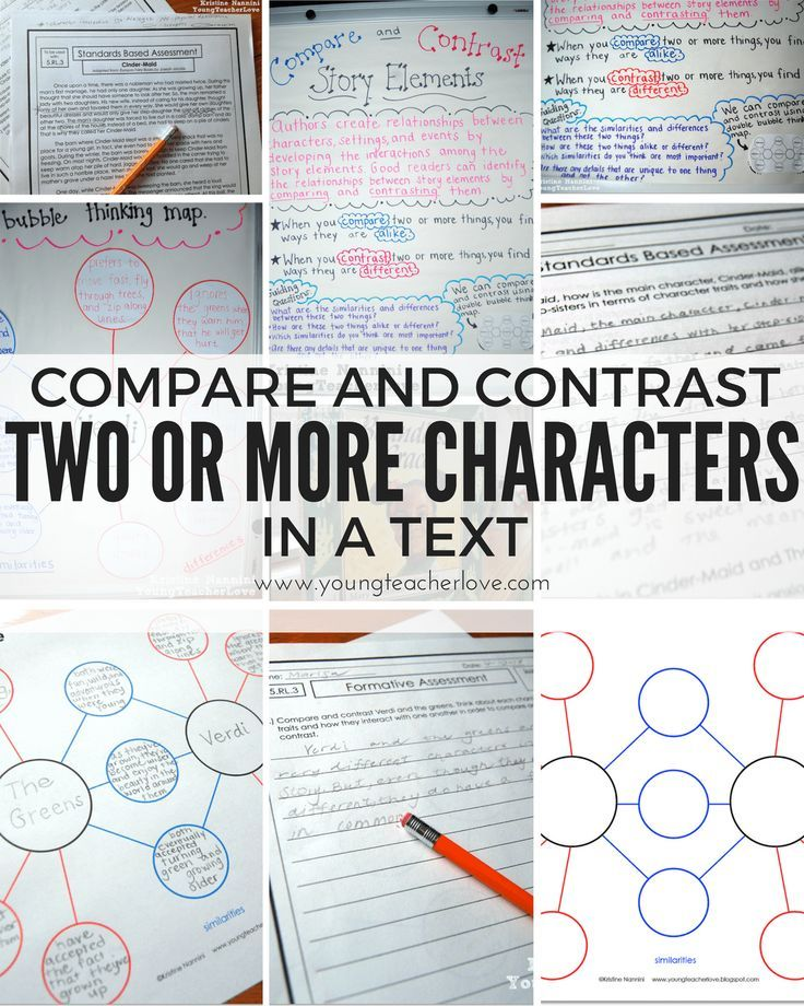 Compare and Contrast Two or More Characters in a Story {Freebies ...