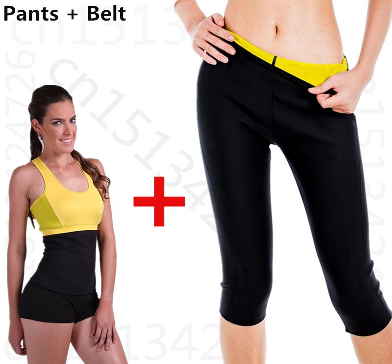 4e44a5e953 Hot on tv Leg Sauna Shapers Fit Sweat fitness set Body Shaper pants Slimming  suit for women weight loss waist trainer belt