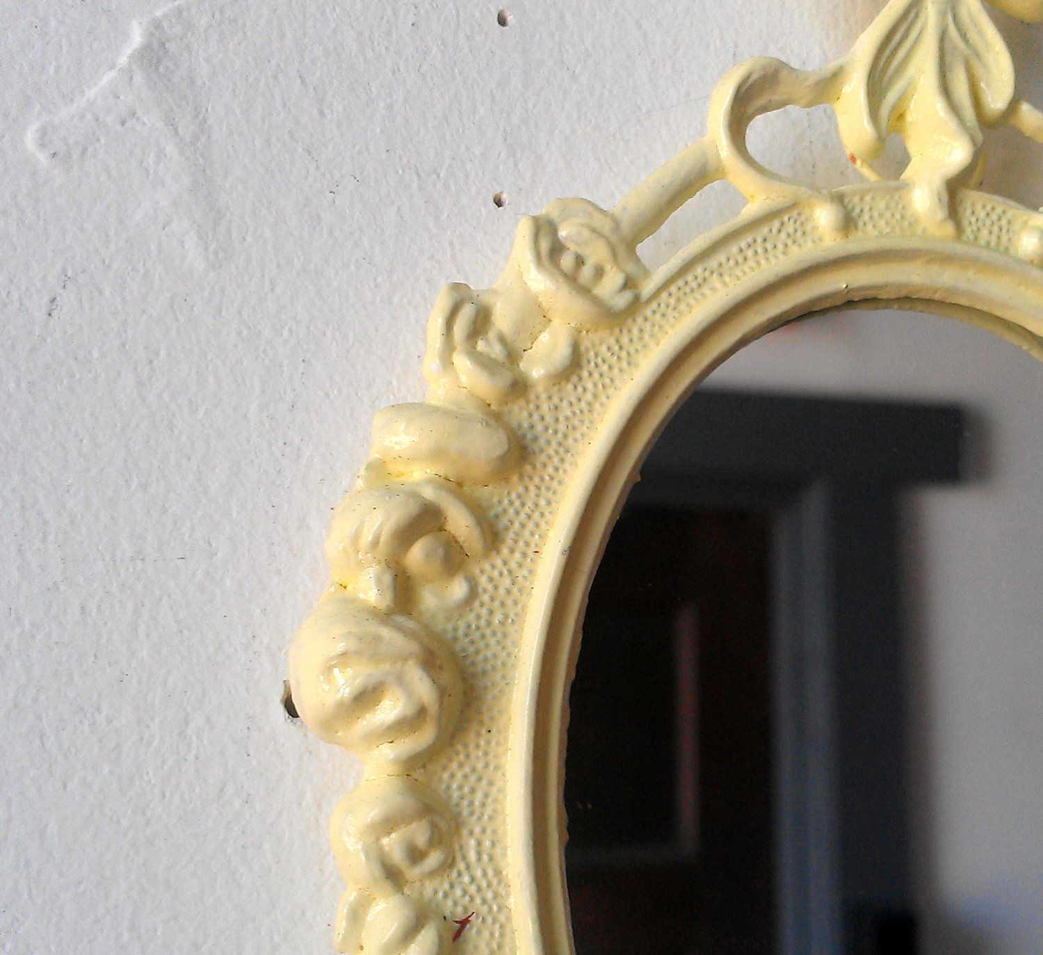 Small Wall Mirror in Vintage Pale Yellow Frame - Revived Vintage ...