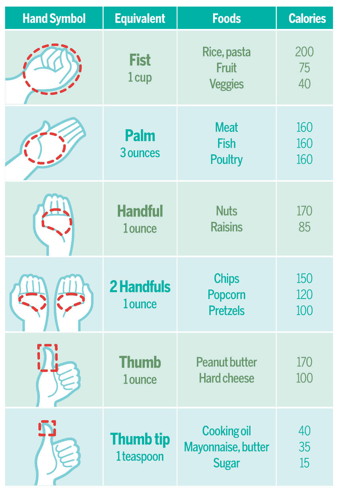 Portion chart  quick reference for food portions using your hand gastric bypass sleeve control also handy weight loss surgery pre and post op rh pinterest