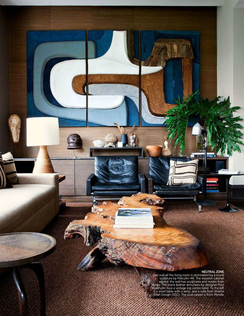Elements of eclectic glamour mid century modern living room