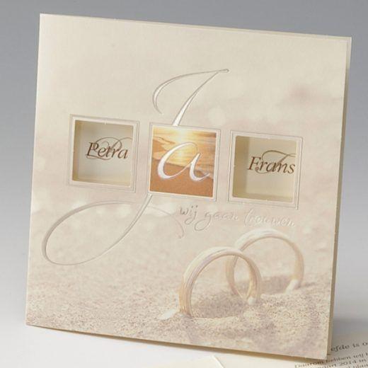 Trouwkaart Ringen in het zand