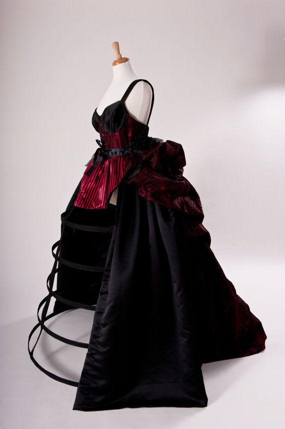 712839a88c4 Gothic Wedding Gown Victorian Bustle Cage Hoop Skirt Skull Brocade Corset  Skirt Apron Goth Dress Burlesque Black Red Custom Size Plus Size